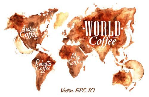 Карта с отметками мест произрастания основных видов кофе