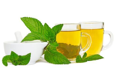 Листья свежей мяты и заваренный травяной чай