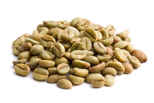 Зерна зеленого кофе россыпью