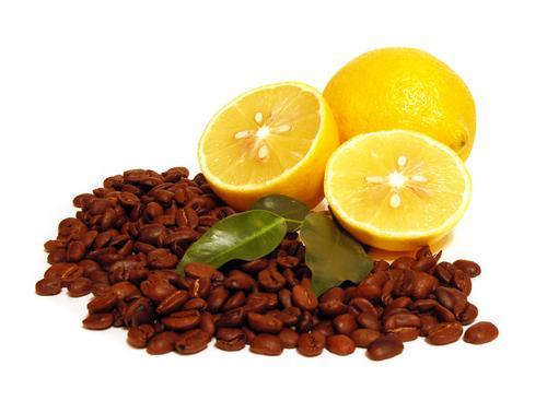 Кофе в зернах с лимоном