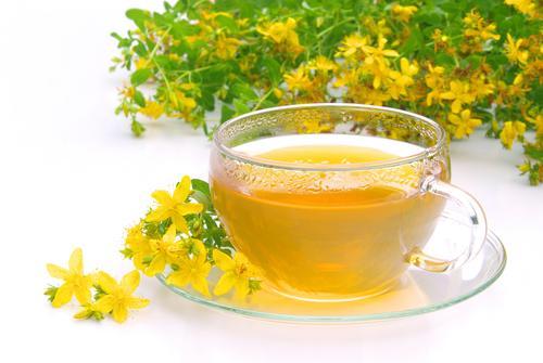 Чай из зверобоя на фоне свежих цветков растения