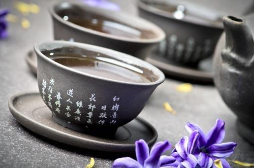 Посуда для чайной церемонии с заваренным улуном