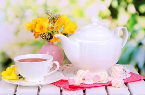 Фарфоровые чайник и чашка