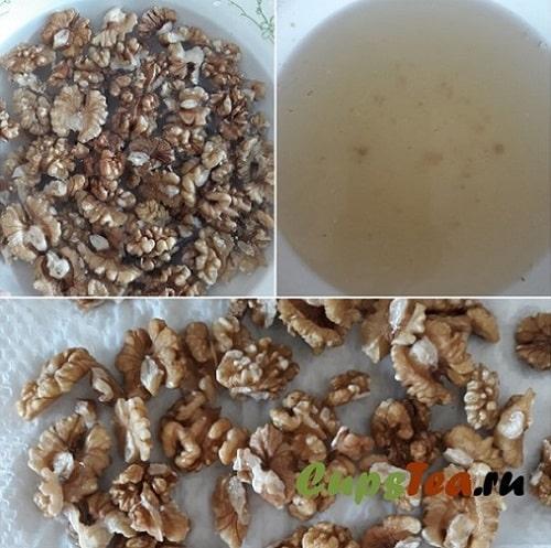 Грецкие орехи до мытья и после