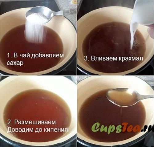 Приготовления киселя из чая
